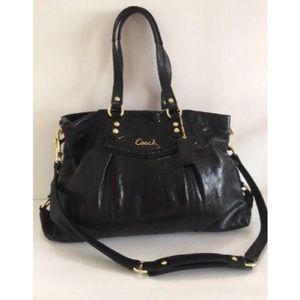 Coach Ashley black python purse bag w/h wallet